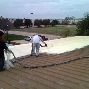 exterior foam on a metal roof